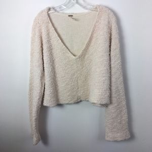 Free People deep V neck cropped sweater ivory XL